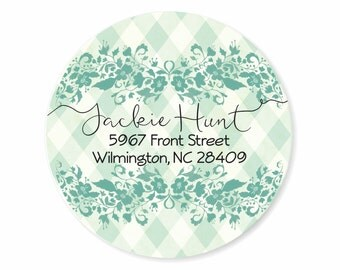 Lace and Gingham Personalized Address Labels Stickers
