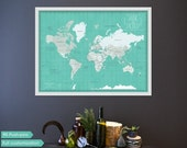 Framed Push Pin Travel map for COUPLES, custom world map, traveler pin map, anniversary gift, Valentine's day gift SALE