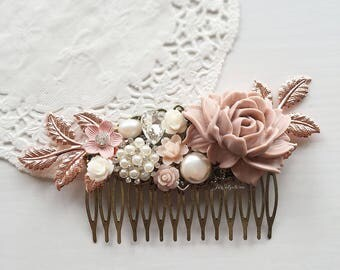 Hair Comb, Wedding, Mauve Pink, Bridal Hair Pin, Rose Gold Headpiece, Soft, Pastel Colors, Blush, Tea Rose, Hair Jewelry, Bride, Hair Slide