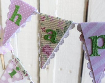Happy Birthday Cake Bunting Topper - Pink & Green Floral Tea Party