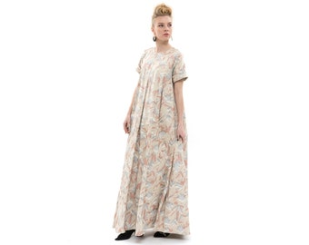 Beige maxi dress with orange and silver print, oversized Dress, extravagant Long Evening Dress with short Sleeves and Pockets