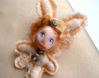 Bunny Rabbit Brooch. Hare Brooch. Animal Brooch.Mini doll brooch. Handmade brooch. Rabbit jewelry. Animal Original brooch.