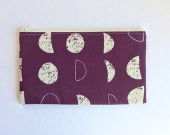 Moon Phases Zipper Pouch, Purple Pencil Case, Moon Pencil Pouch, Space Cosmetic Bag, Eggplant Gift bag