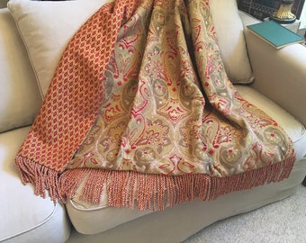 Christmas Gift, Red Green Throw Blanket, Luxurious Bedding, European Elegance, Royal Moroccan Design, Medieval Tapestry OOAK