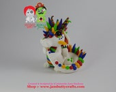 Fish & Chips. Rainbow Dragon. Hand Sculpted Polymer Clay Figurine