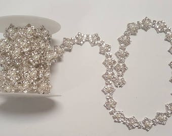 Pearl and Crystal Rhinestone Chain Trim Silver Wedding Cake Rhinestone Crystal Sewing Headband Craft Trim Yard Pearl Crystal Trim CLOSEOUT
