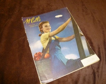McCalls Vintage Magazine September 1944 Fashions, Food, Ads Lucille Ball
