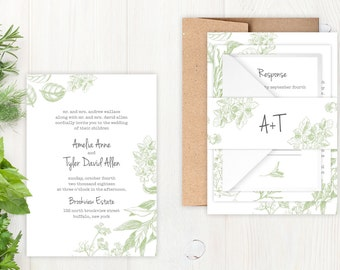 Wedding Invitations - DEPOSIT TO START Herb Garden Suite - Custom Wedding Invites - Personalized Wedding Invitations - Full Wedding Suites