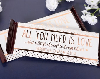 Wedding Candy Wrappers - 25 Metallic Foil Chocolate Bar Wrappers - Rose Gold Wedding Chocolate Bar Labels - Custom Candy Stickers