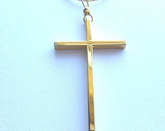 Vintage Goldtone Cross & Long Neck Chain, Classic Gold Cross Pendant, Gold Cross with Neck Chain, Goldtone Cross Necklace, Goldtone Cross