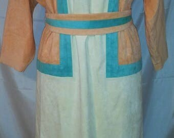 """80s Vintage Ultrasuede Spring Midi Dress-Office-Special Event-Business-High Fashion-Size 12-Large-44"""" Bust-Saks Fifth Avenue"""