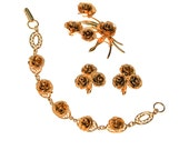Reserved Please do not Purchase Gold Rose Bracelet, Earrings, and Brooch Set