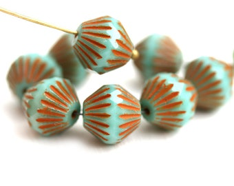 11mm Large Picasso Turquoise bicones, czech Glass Fire polished beads, large rustic bicone beads - 8pc - 2548