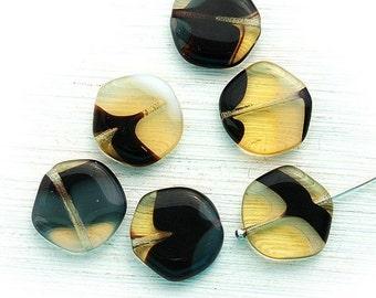 ON SALE Black and yellow hexagon beads, large czech glass beads, flat, black beads - 15mm - 8Pc - 1142