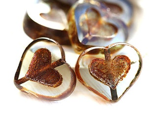 Heart beads, Czech glass Picasso Crystal clear hearts, Brown rustic finish, table cut, glass heart - 14mm - 6Pc - 0737