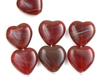15mm Opal Red Heart beads mix, Striped Dark Red czech glass pressed beads, 10Pc - 3026
