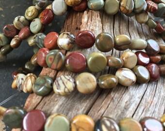 Natural Red Creek Jasper 3mmx7.5mm Disk Beads, Full Strand G01183