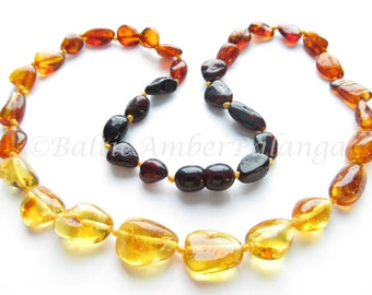 Baltic Amber Necklace Rainbow Color Olive Beads. For Adults