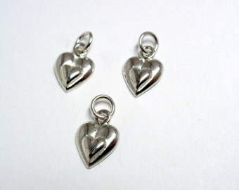 Sterling Silver Tiny Double Heart Charm, 11mmx8mm Heart Within A Heart Sterling Silver Charm - 3 pcs
