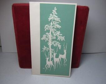 Pretty 1930's-40's embossed art deco christmas card 3 gazelles,deer walking in forest