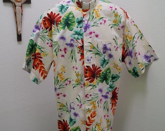 CAMP Clerical shirt tropical flowers set on ivory. Size of choice. Tab or full band collar ready. Untucked style