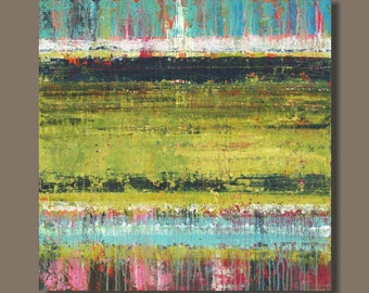 FREE SHIP large abstract painting, Rothko inspired modern art, yellow green, turquoise blue, pink, minimalist art, wall art on canvas