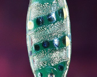 Stepping Stones Handmade Lampworked Glass Bead OOAK Green Opal Dichroic Black Metallic Silver Pressed Tab Lampwork