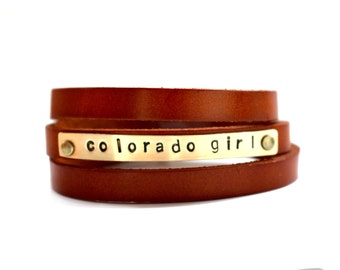 leather wrap bracelet - colorado girl - stamped gold and saddle tan leather cuff bracelet
