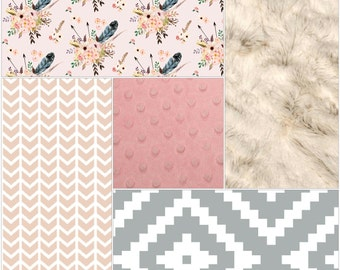 Feather Aztec Patchwork Blanket- Feathers, Broken Chevron, Gray Aztec, Blush Minky, and Ivory Crushed Minky Patchwork Baby Blanket