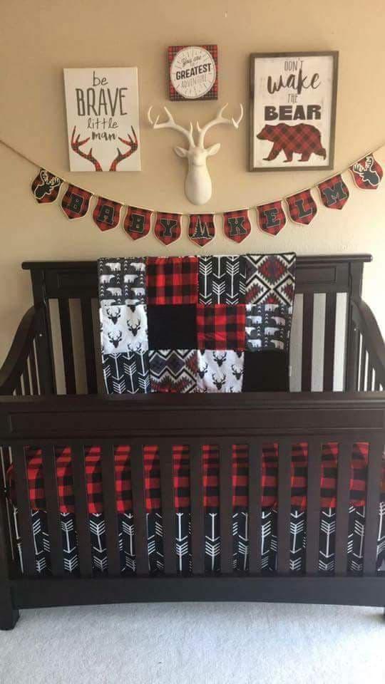 Baby Boy Crib Bedding Bear Buck Black Arrow Aztec Red