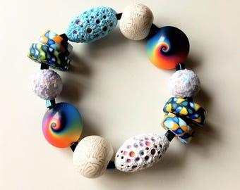 Polymer Clay Bracelet Sea Mix,elastic,Navy, Beach, mediterranean,Boho chic,blue,fresh jewelry,swirl, multicolor,Rainbow,sunlight,OOAK,unique