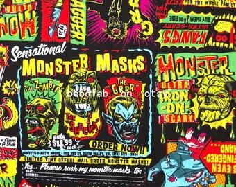 "2342  - 1 yard Cotton Poplin fabric - Monster Masks (140cmx91.44cm,55""x36"")"
