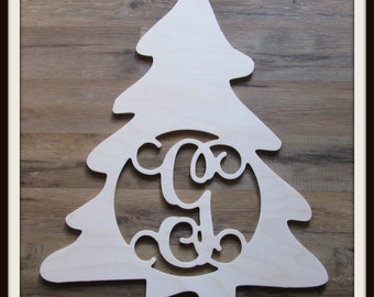 """Christmas Tree Door Hanger with Letter - Unpainted Wood - 22"""" size - Family - Holiday - Christmas - Wooden Letter - Wall Hanging - Monogram"""