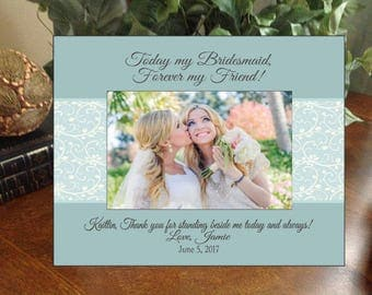 Any Message Thank You Bridesmaid Photo Frame Personalized Gift for Mother Father Parents of Groom