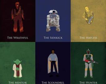 Star Wars The Empire Strikes Back Art Prints - Luke Skywalker, Princess Leia, Han Solo, Chewbacca, C3PO, R2D2, Yoda, Lando, Boba Fett, Vader
