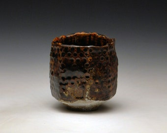 "Handbuilt Stoneware Teabowl ""Melting Dot Mountain"""