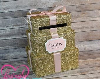 3 Tier Card Box | Gold Glitter, Gold Rhinestones & Blush Pink Satin Ribbon | Gift Money Box for Any Event | Additional Colors Available