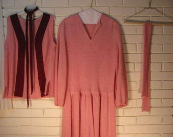 70's does 20's pink knit dress with vest size M