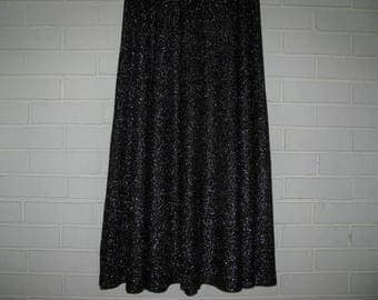 60's black lame' full maxi skirt waist size 30''