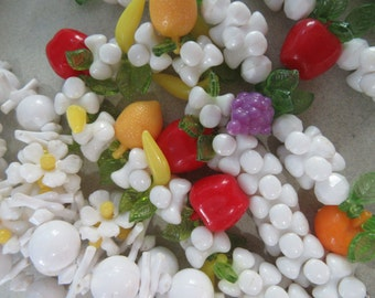 Fruit Salad and DasisyMod 1960's Necklace Destash Assemblage Beads For Earrings Craft Lot Restring Vintage Costume Jewelry Carmen Miranda