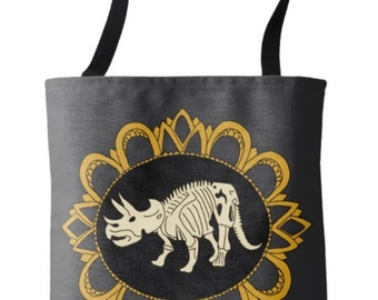 Triceratops Fossil Cameo Tote Bag
