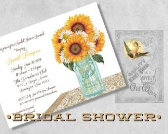 Printed Rustic Sunflower Bridal Shower Invitations - Mason Jar, Burlap, Lace - Custom Country Invitation for a Wedding Shower