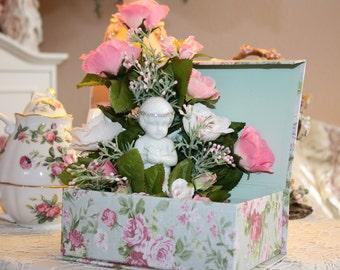 Shabby Cottage Chic Keepsake Box Floral Arrangement Porcelain Angel Trinket Box Jewelry Box FREE SHIPPING