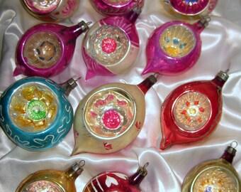 12 Vintage Mercury Glass Indented POLISH POLAND FANTASIA Christmas Ornaments