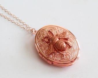 Rose Gold Bee Locket Necklace, Rose Gold Honeybee Locket, Rose Gold Filled Chain, Embossed Locket, Photo Locket, Rose Gold Floral Pendant