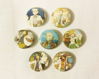 PokeProfessor Buttons - set of 7 Pokemon Card Buttons