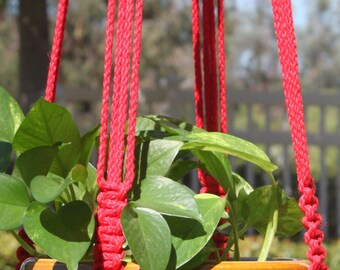 CROWNE ROYALE - RED Handmade Macrame Plant Hanger Plant Holder with Wood Beads - 6mm Braided Poly Cord