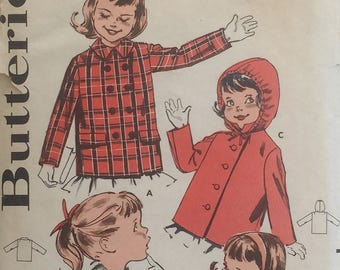 Butterick pattern 9522, out of print sewing pattern, Child's Size 2 single & double-breasted jacket, hood