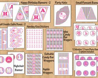 1st Birthday Girl Cupcake  Invitation 1st Birthday Party Sweet Cupcake 1st birthday invite Printable Birthday Package 1st Birthday Banner