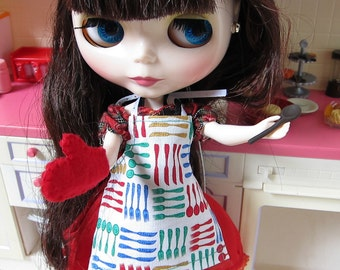 Blythe Cooking Apron with Colorful Forks, Knives & Spoons Pattern